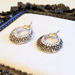 Jewelry - Antiqued Silver Disc Earrings with Rhinestones